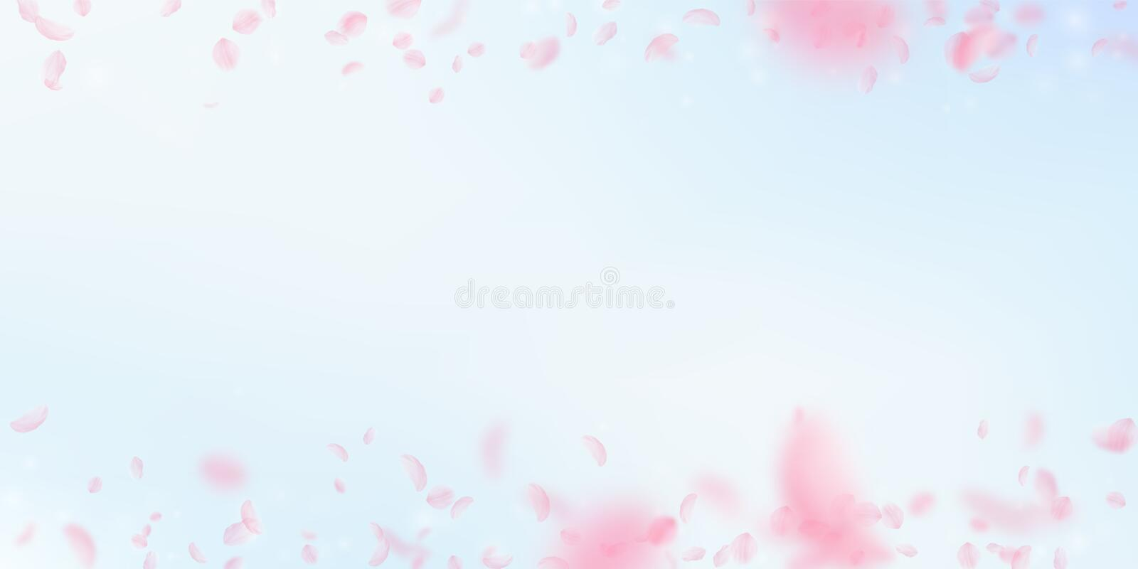 Sakura petals falling down. Romantic pink flowers border. Flying petals on blue sky wide background. stock illustration