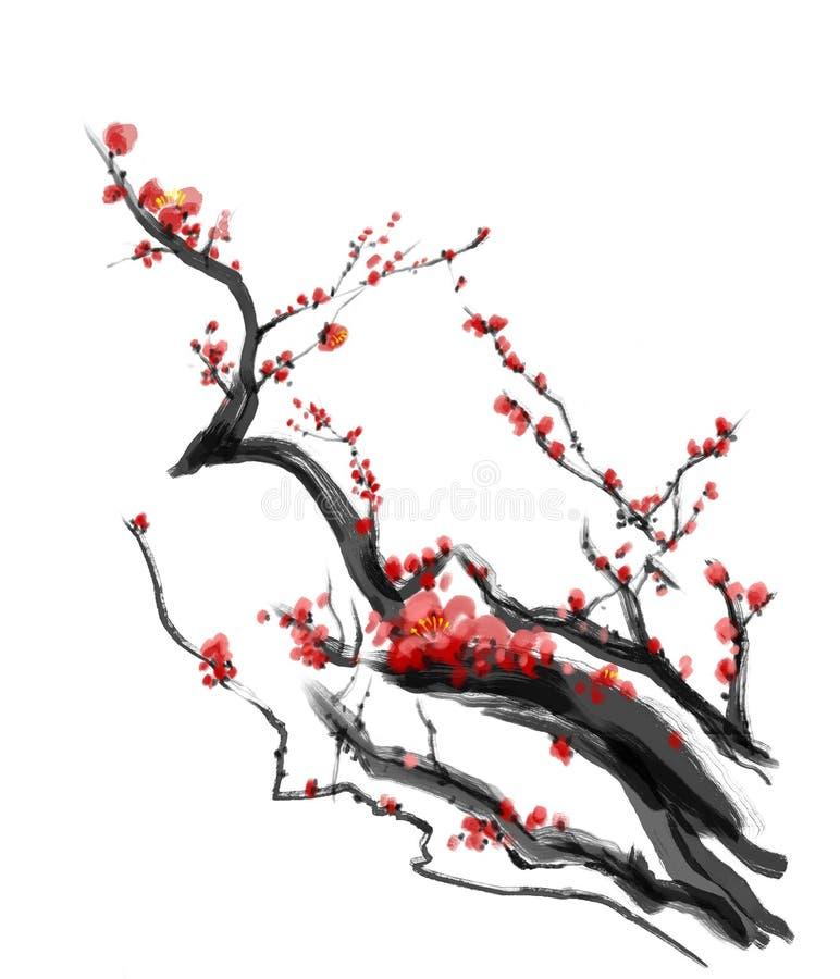 Sakura, pintura del cepillo del chino del ciruelo de la flor de cerezo stock de ilustración