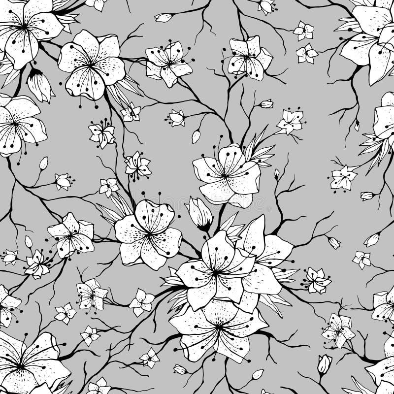 Sakura rozgałęzia się bezszwowego wzór ilustracji