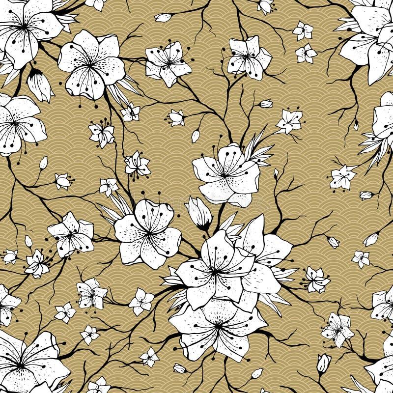 Sakura rozgałęzia się bezszwowego wzór ilustracja wektor
