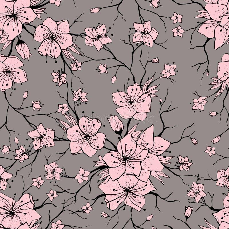 Sakura rozgałęzia się bezszwowego wzór royalty ilustracja