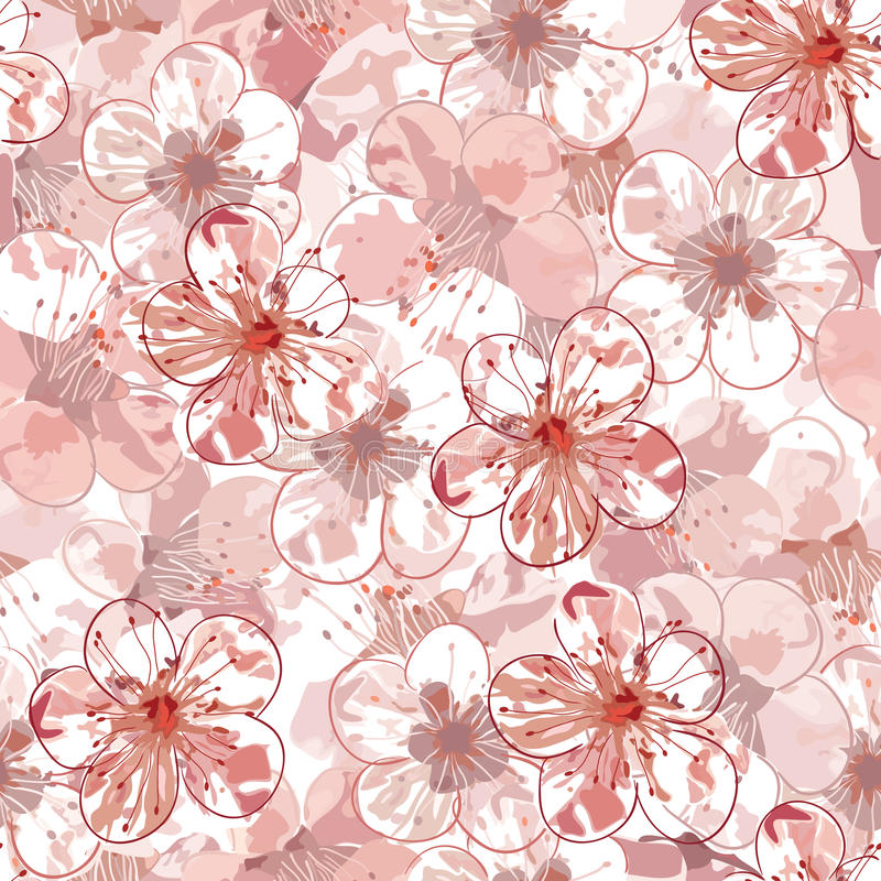 Sakura seamless pattern vector illustration