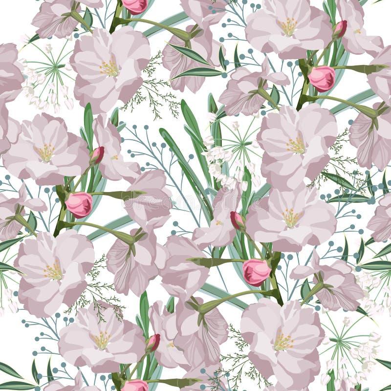 Sakura. Seamless pattern. Pink Cherry blossom branches with herbs. Spring botanical illustration. White background vector illustration