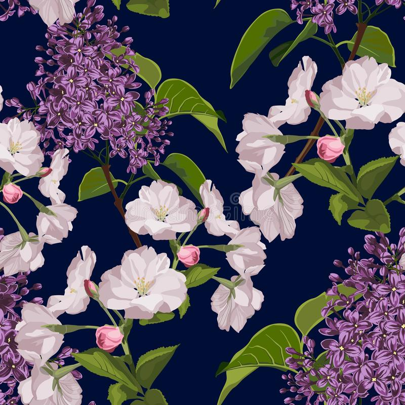 Sakura. Seamless pattern. Pink Cherry blossom branches with lilac. vector illustration