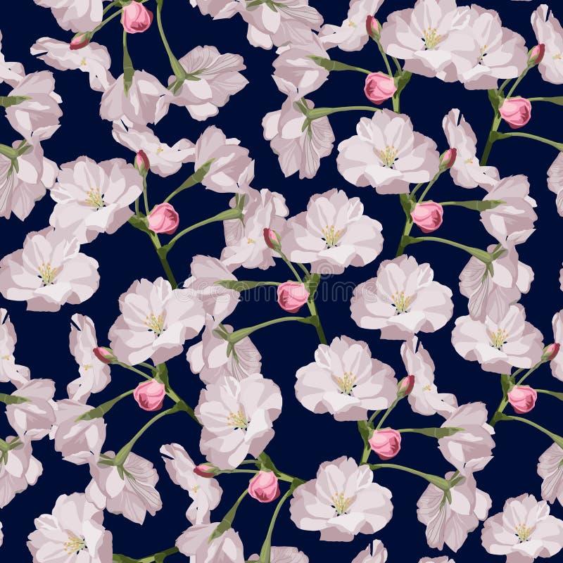 Sakura. Seamless pattern. Pink Cherry blossom branches. Spring botanical illustration. vector illustration