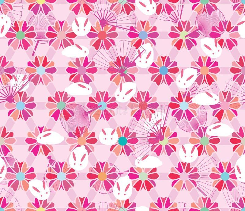 Sakura sześciokąta kwiatu królika fan menchii pastelowy bezszwowy wzór royalty ilustracja