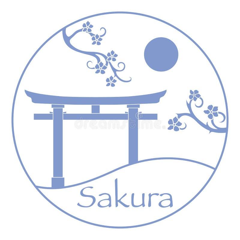 Κλάδοι Sakura και torii, τελετουργικές πύλες E στοκ φωτογραφία με δικαίωμα ελεύθερης χρήσης