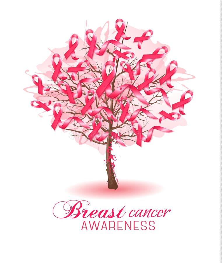 Sakura tree with breast cancer awareness ribbons. Vector vector illustration