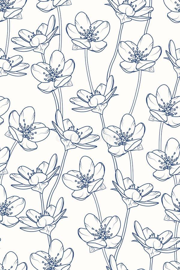 Sakura tree cherry blossom floral vertical seamless pattern. Dark navy blue line design. Spring japanese vintage style. royalty free illustration