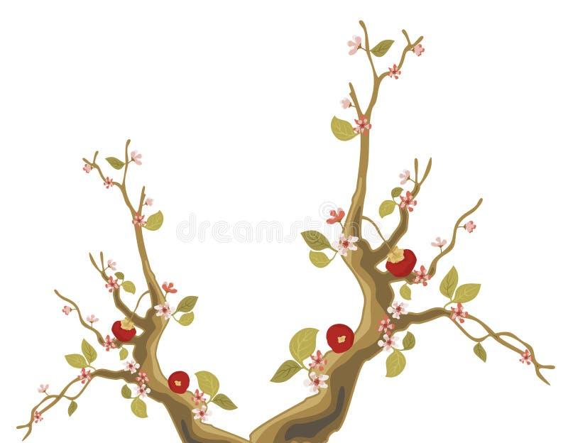 Sakura tree and red fruit royalty free illustration