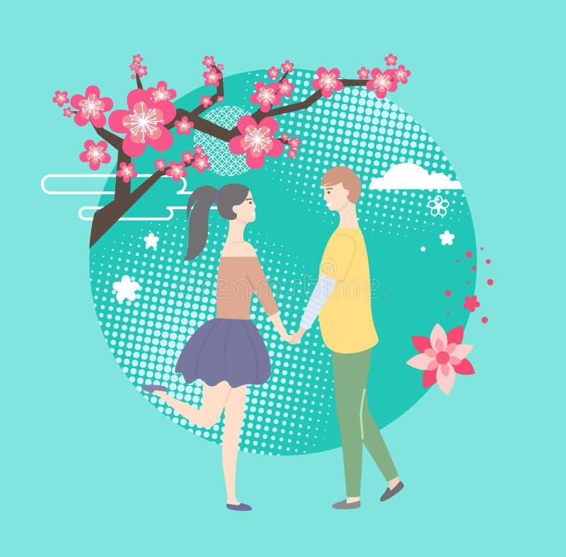 Sakura Tree y pares felices, vector romántico stock de ilustración