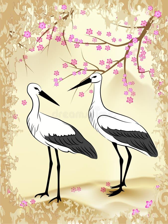 Sakura und Storch vektor abbildung