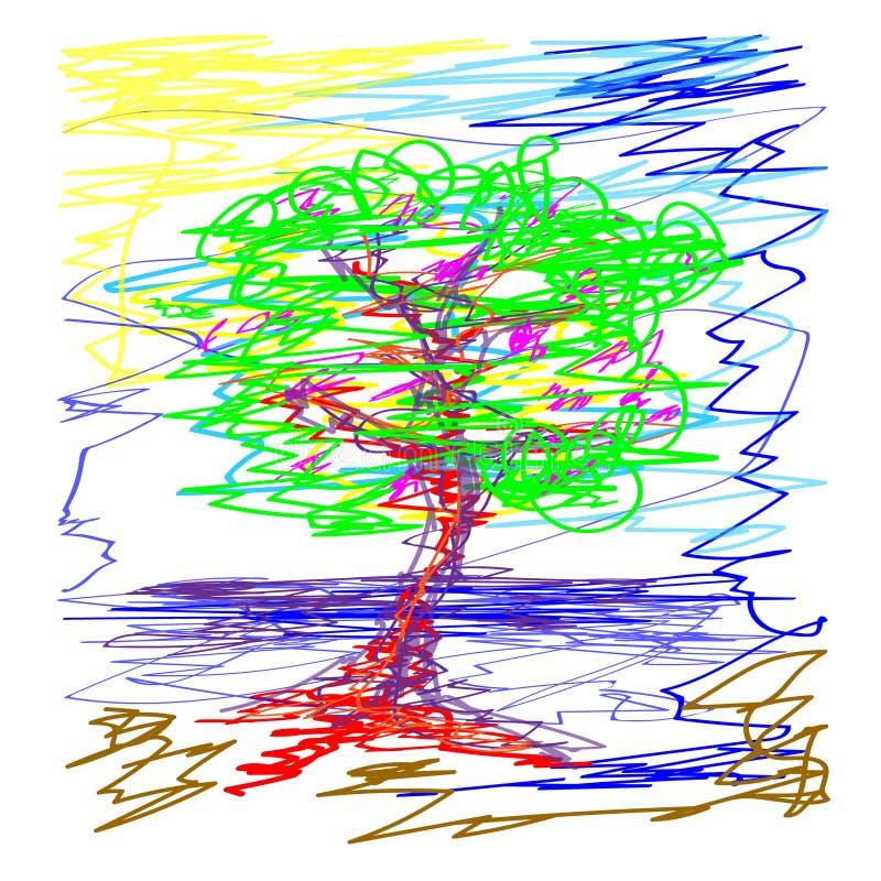 Sakura vergankelijke boom Vijver in de hemel Krabbelillustratie op witte achtergrond wordt geïsoleerd die royalty-vrije illustratie