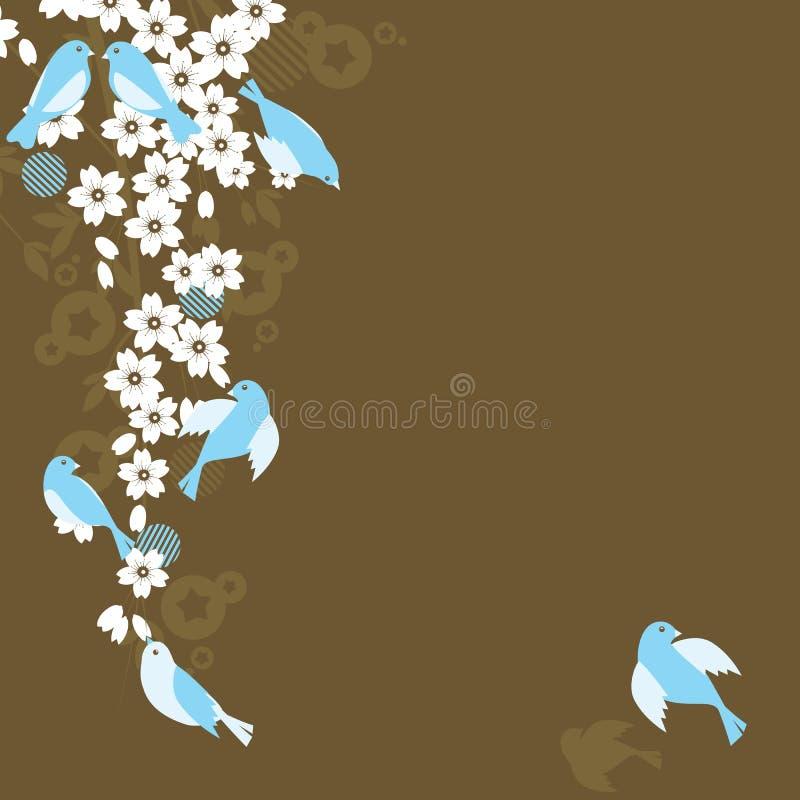 Sakura y pájaros (flor de cereza) ilustración del vector