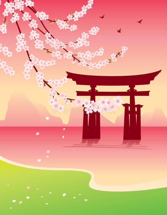 Sakura y toros ilustración del vector