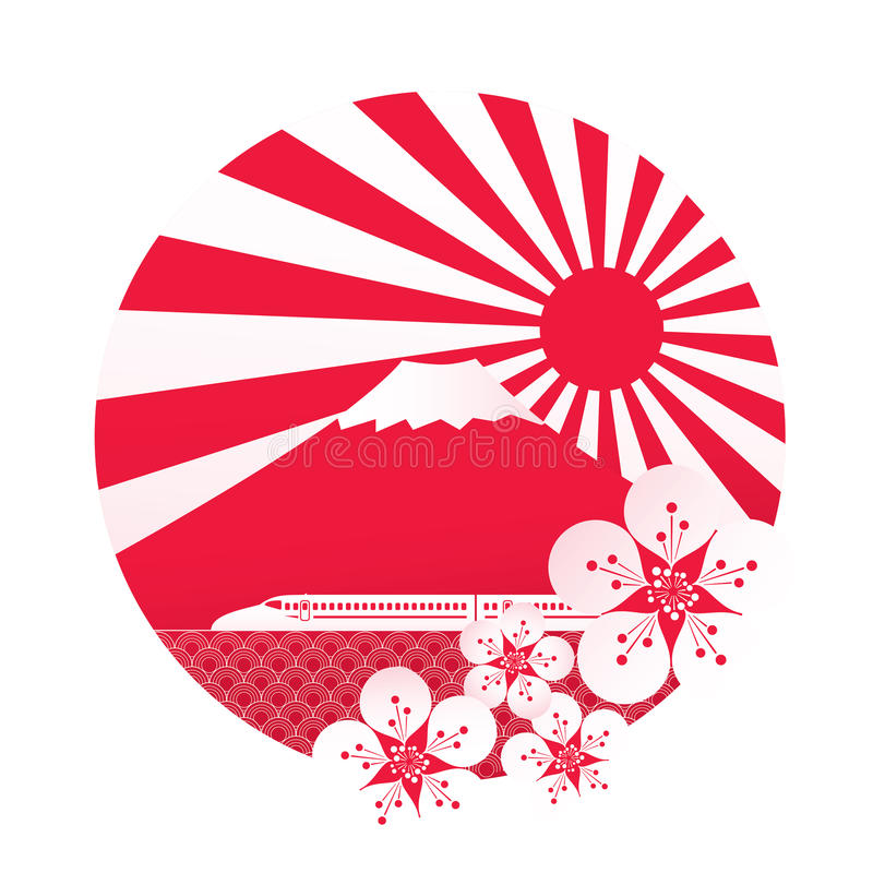 Sakurabloesem met rode zon royalty-vrije illustratie
