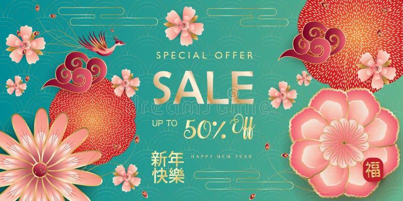 Sakuras för blomning för traditionell vår för mån- år för nytt år för det Sale banret 2019 undertecknar lyckliga kinesiska blom- stock illustrationer