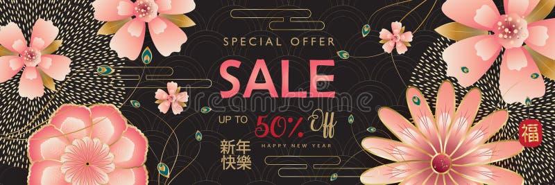 Sakuras för blomning för traditionell vår för mån- år för nytt år för det Sale banret 2019 undertecknar lyckliga kinesiska blom- vektor illustrationer