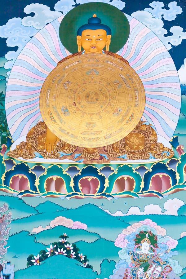 Sakyamuni菩萨一张美丽的壁画  免版税图库摄影