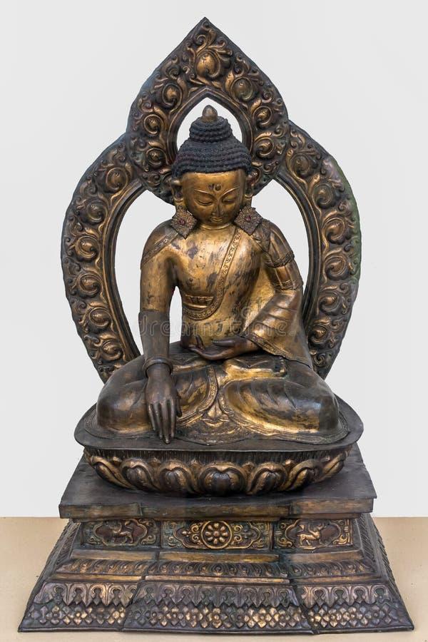 Sakyamuni菩萨,铜被镀金的18世纪,尼泊尔 库存照片