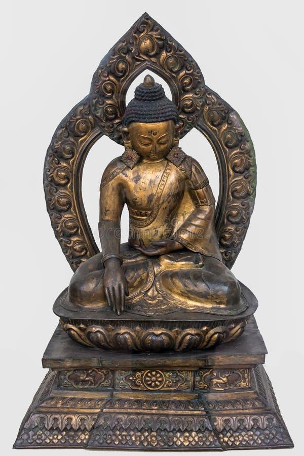 Sakyamuni Buda, siglo XVIII dorado de cobre, Nepal fotos de archivo libres de regalías