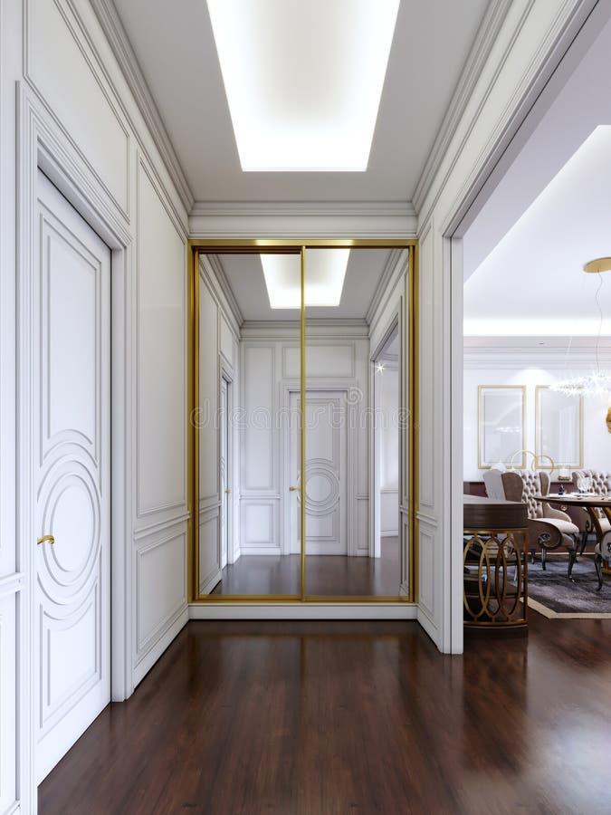 Salão clássico do estilo com paredes brancas e vestuário deslizante incorporado com quadro dourado ilustração royalty free