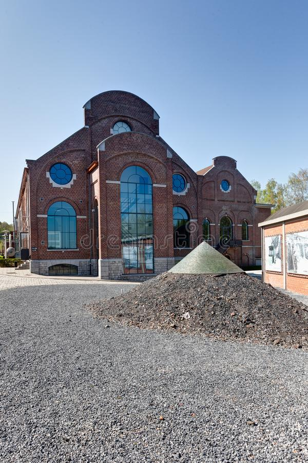 Salão da fábrica, Bois du Cazier Bois du Cazier, Marcinelle, Charleroi, Bélgica foto de stock royalty free
