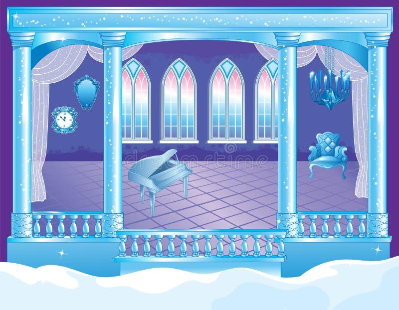 Salão de baile do palácio do gelo do conto de fadas ilustração royalty free