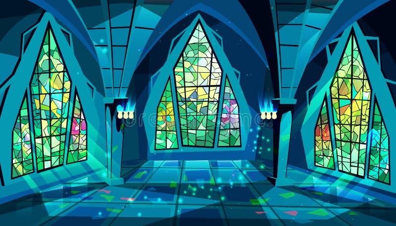 Salão de baile ou ilustração gótico do vetor da noite do palácio ilustração do vetor