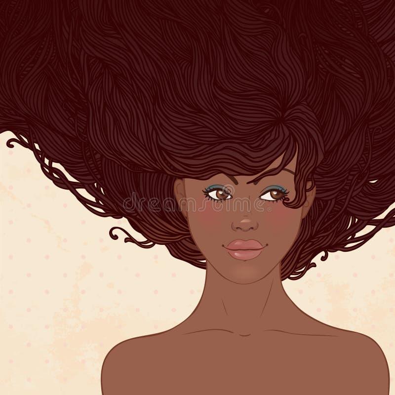 Salão de beleza da beleza: Mulher consideravelmente nova do americano africano ilustração do vetor