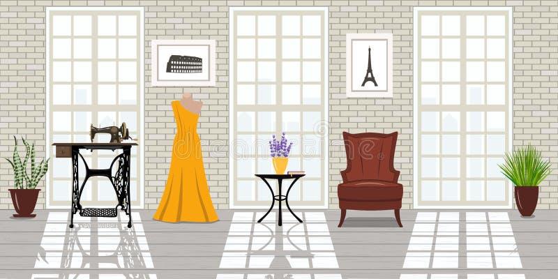 Salão de beleza da forma, local de trabalho do alfaiate Estúdio de Vogue ilustração royalty free