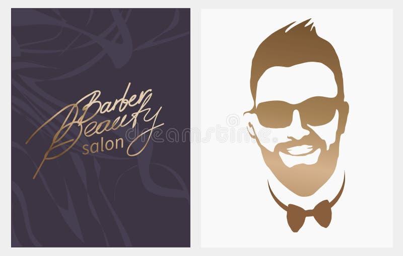 Salão de beleza do barbeiro da beleza barba, bigode, penteado Homem europeu com bigodes das barbas, corte de cabelo à moda do bar ilustração stock
