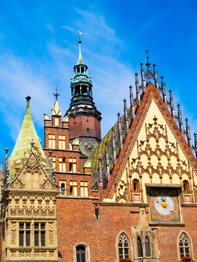 Salão de cidade do Wroclaw, Poland imagem de stock