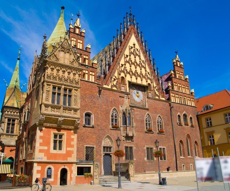 Salão de cidade do Wroclaw, Poland imagens de stock