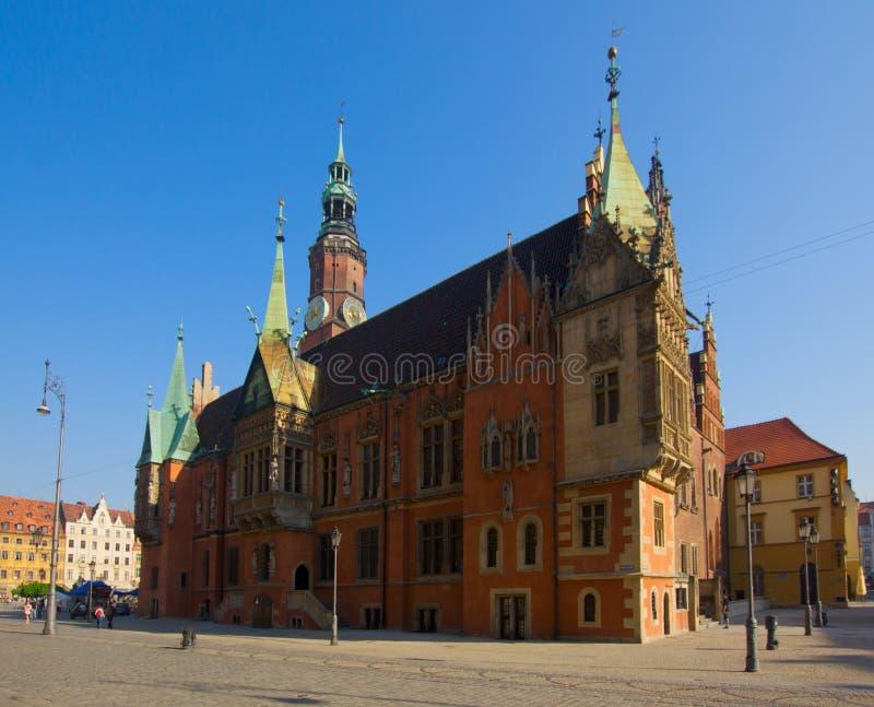 Salão de cidade do Wroclaw, Poland foto de stock royalty free