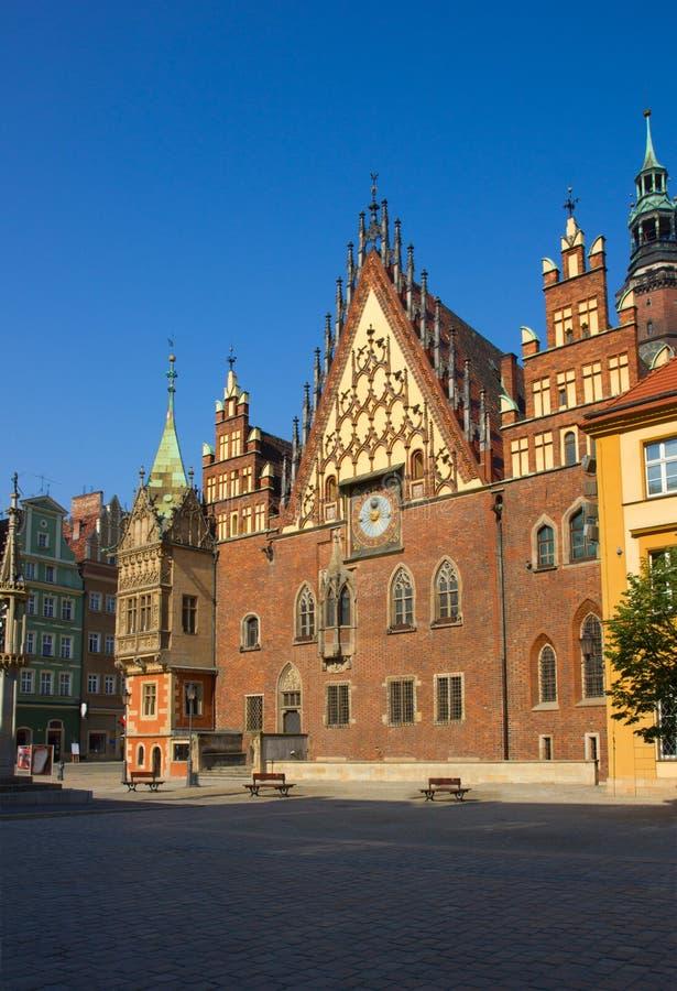 Salão de cidade do Wroclaw, Poland fotografia de stock