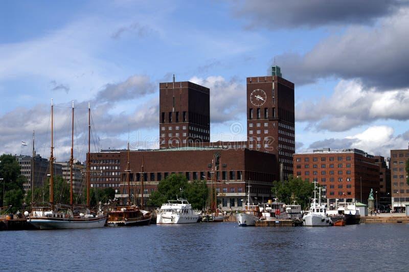 Salão de cidade Oslo foto de stock