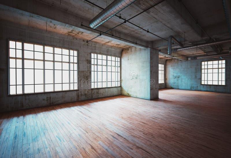 Salão de conjunto abandonado na escola, sala vazia do horror, rendição 3d ilustração stock