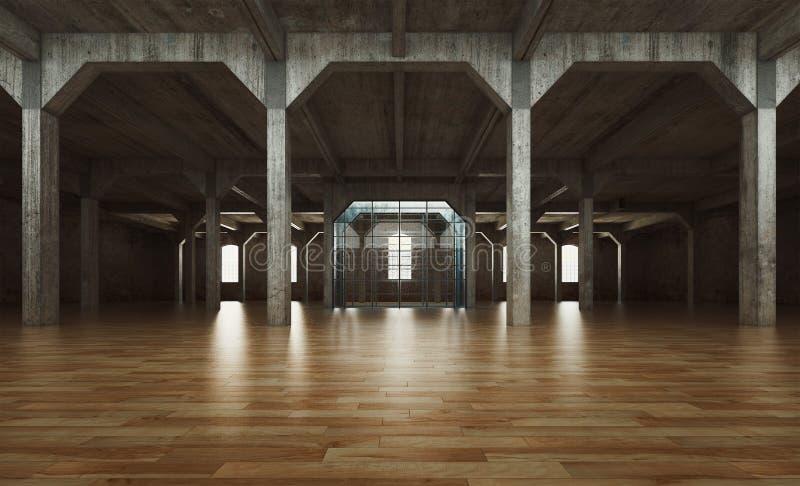 Salão de conjunto abandonado, sala vazia, rendição 3d ilustração royalty free
