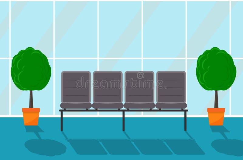 Salão de espera em algum prédio de escritórios Corredor Cadeiras e árvores decorativas em uns potenciômetros, grande janela Ilust ilustração royalty free