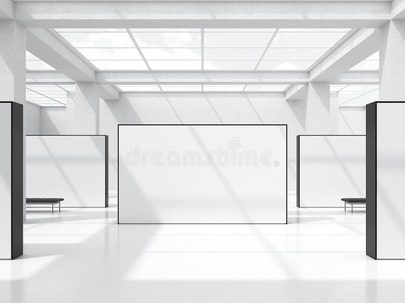 Salão de exposição brilhante com as janelas no teto rendição 3d ilustração stock