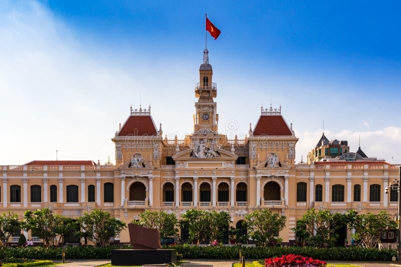 Salão de Ho Chi Minh City ou câmara municipal de Saigon, matriz do comitê de pessoa de cidade, Vietname imagens de stock royalty free