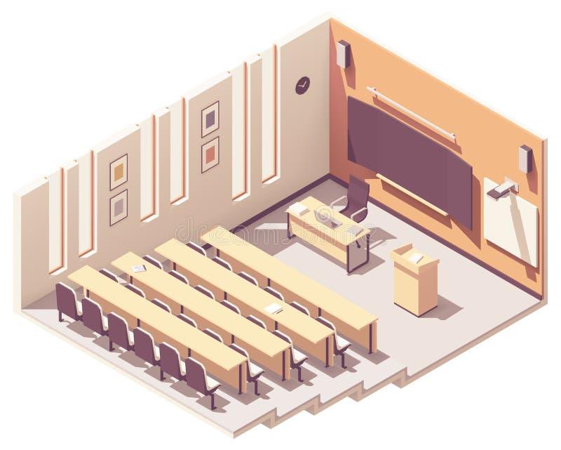 Salão de leitura isométrico da universidade do vetor ilustração stock