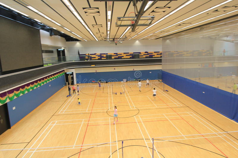 Salão do badminton de Hong Kong em Hang Hau Sports Centre fotos de stock royalty free