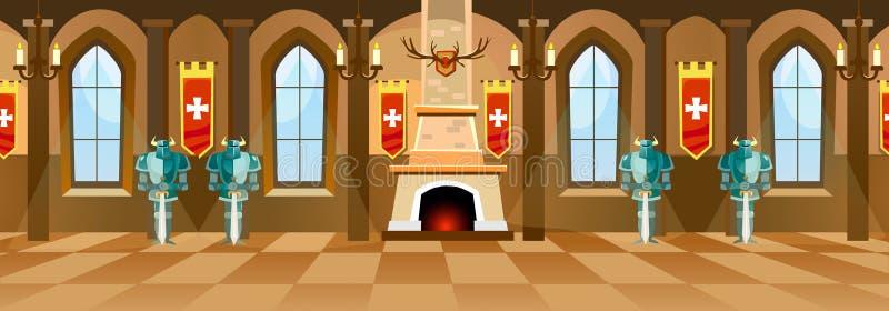 Salão do castelo dos desenhos animados com cavaleiros, chaminé e janelas em r grande ilustração royalty free