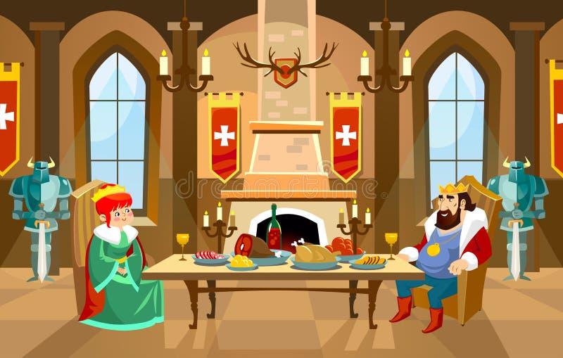 Salão do castelo dos desenhos animados com rei e rainha Jantar real no dianteiro ilustração do vetor