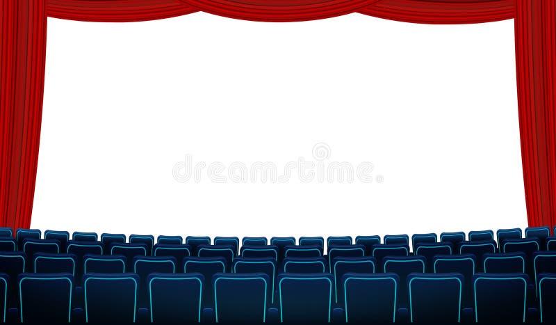 Salão do cinema com a tela vazia branca, as cadeiras e a cortina vermelha O azul realístico preside os assentos do cinema que enf ilustração stock