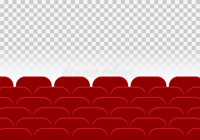 Salão do cinema ou teatro e fileira vazios de assentos vermelhos do auditório sobre ilustração stock