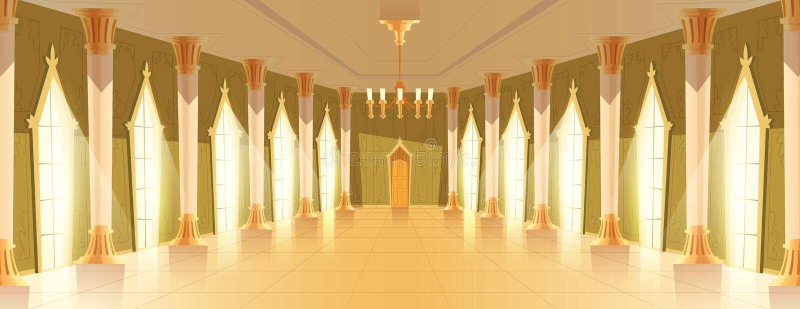 Salão do salão de baile com ilustração do vetor do candelabro ilustração royalty free