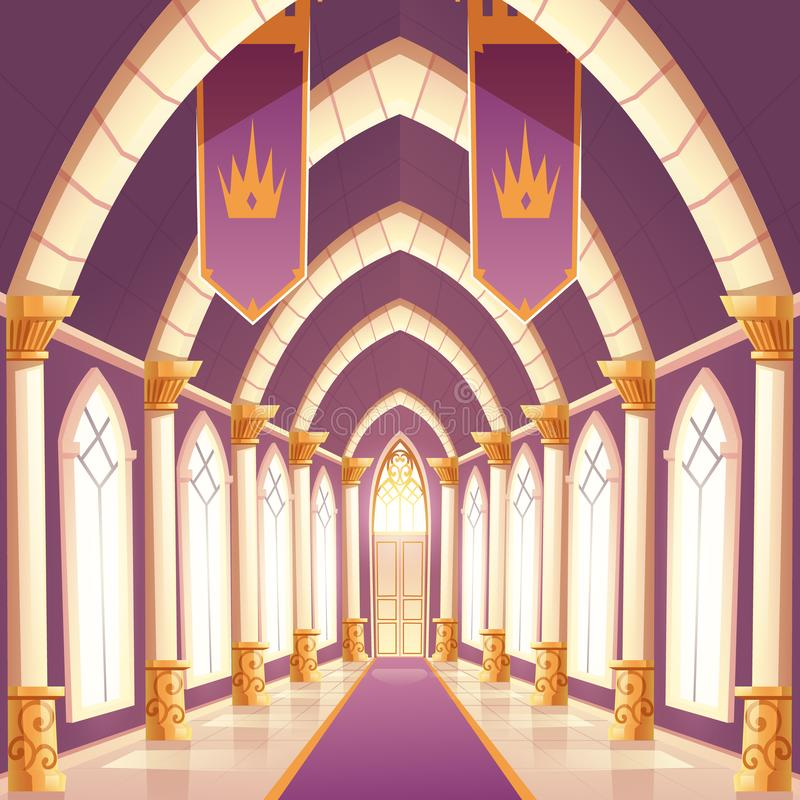 Salão do palácio, interior vazio do corredor da coluna do castelo ilustração royalty free